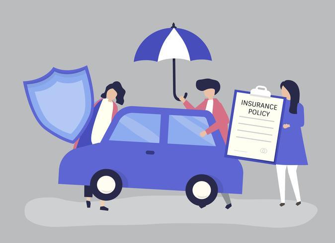 Personnes avec des icônes liées à l'assurance automobile