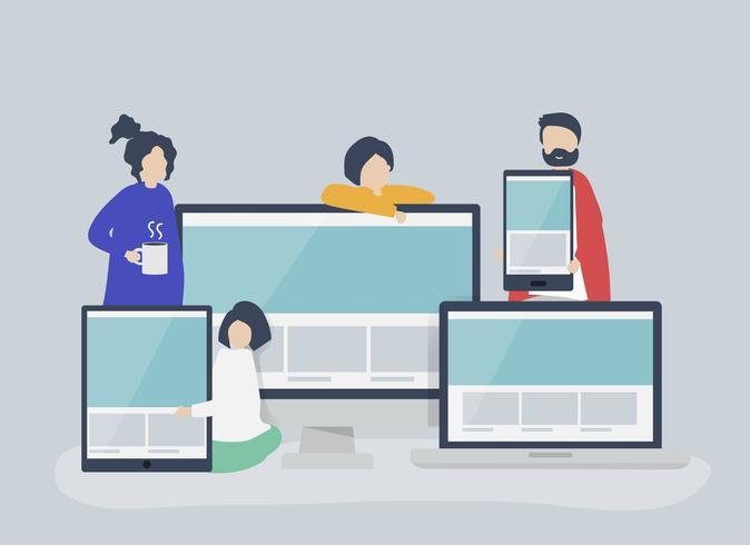 Pessoas com ilustração de conceito de web design