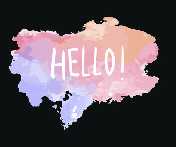 The word hello on a watercolor vector