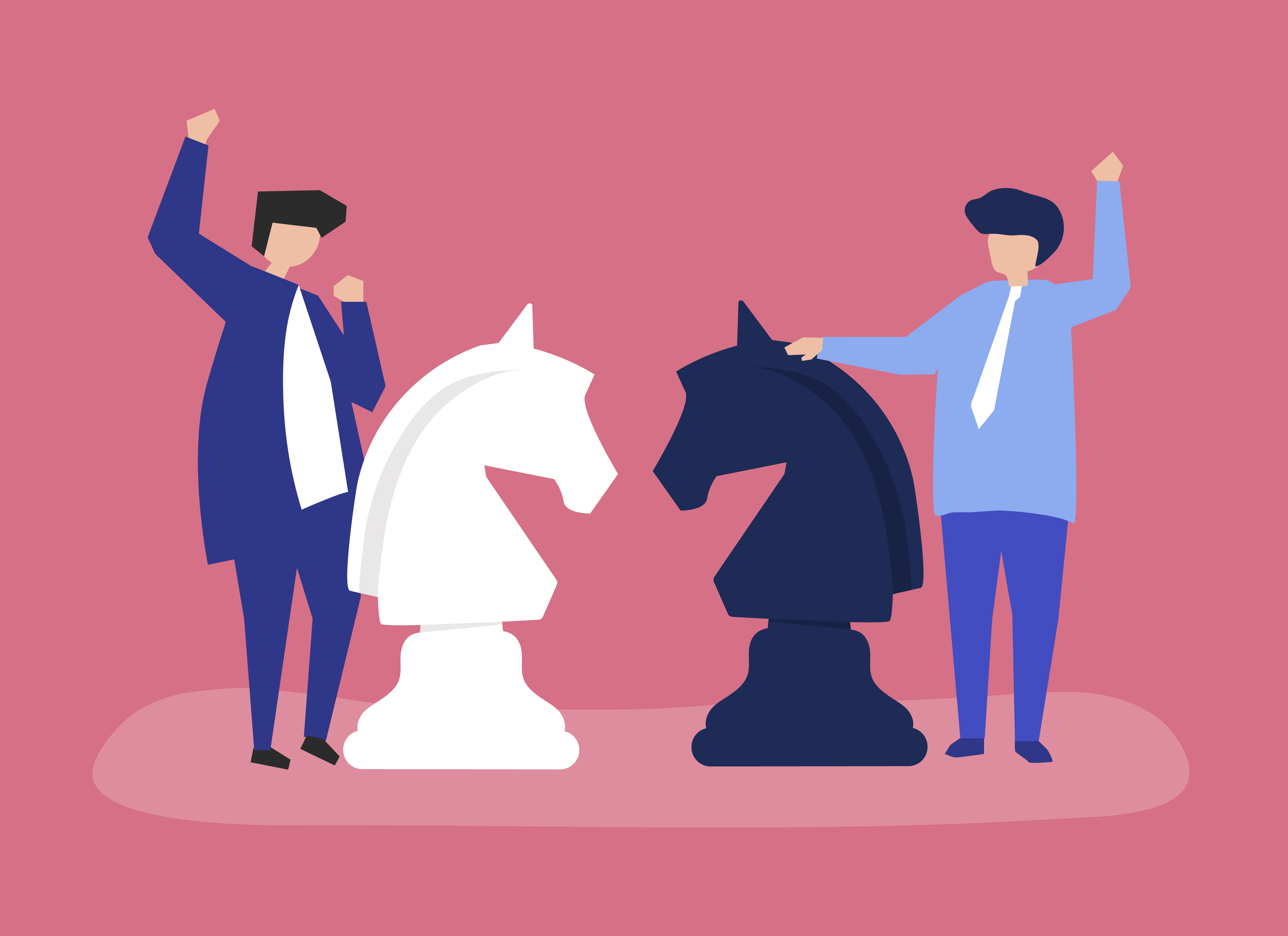 Characters of two businessmen playing chess illustration ...