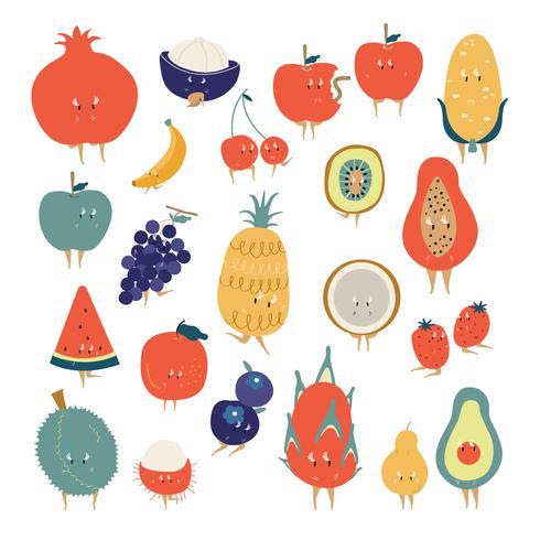 Tropische fruit stripfiguren vector set