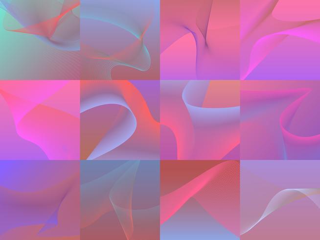 Set di grafica vibrante colorata onda 3d