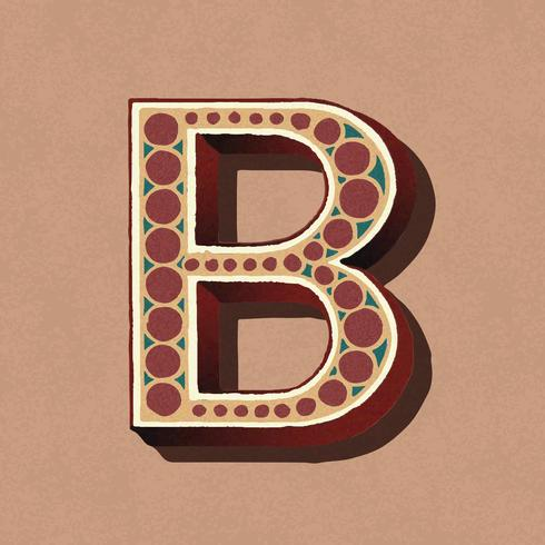 Hoofdletter B vintage typografie stijl