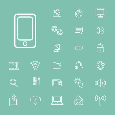 Illustrazione delle icone di tecnologia dei dispositivi digitali messe
