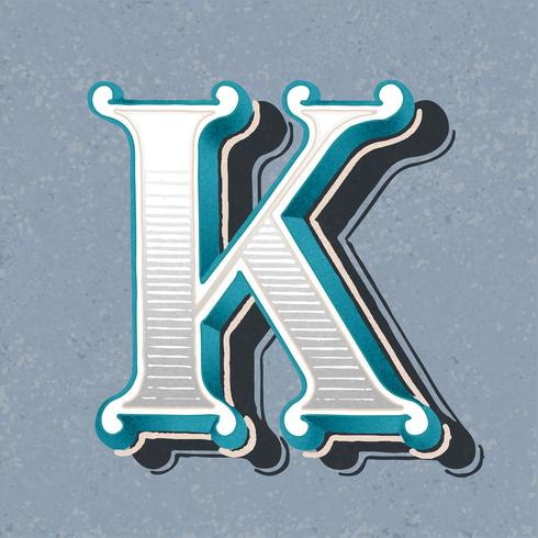 Stile di tipografia vintage lettera maiuscola K