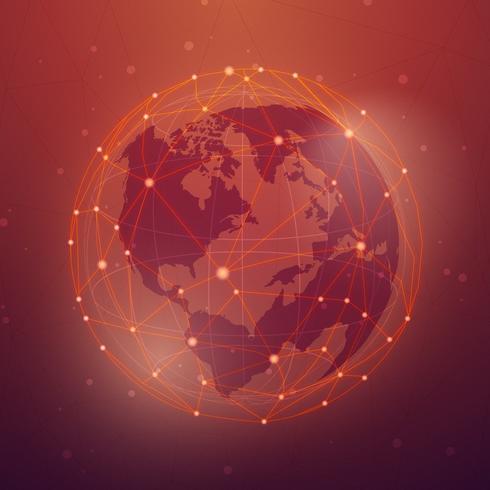 Vettore rosso dell'illustrazione della priorità bassa del collegamento in tutto il mondo