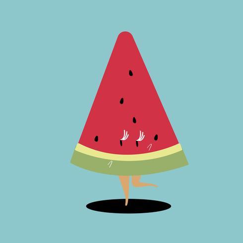 Skiva av vattenmelon tecknad vektor