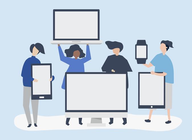 Karakterillustratie van mensen met verschillende digitale apparaten