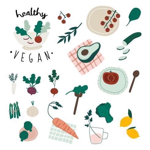 Conjunto de vetores de comida vegan saudável