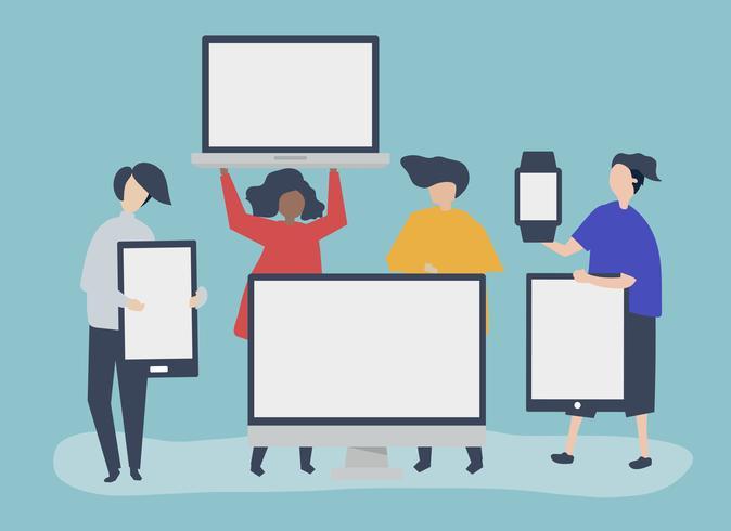 Karaktärs illustration av personer med olika digitala enheter