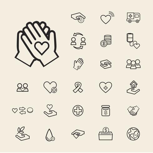Illustratie van donatie ondersteuning pictogrammen instellen