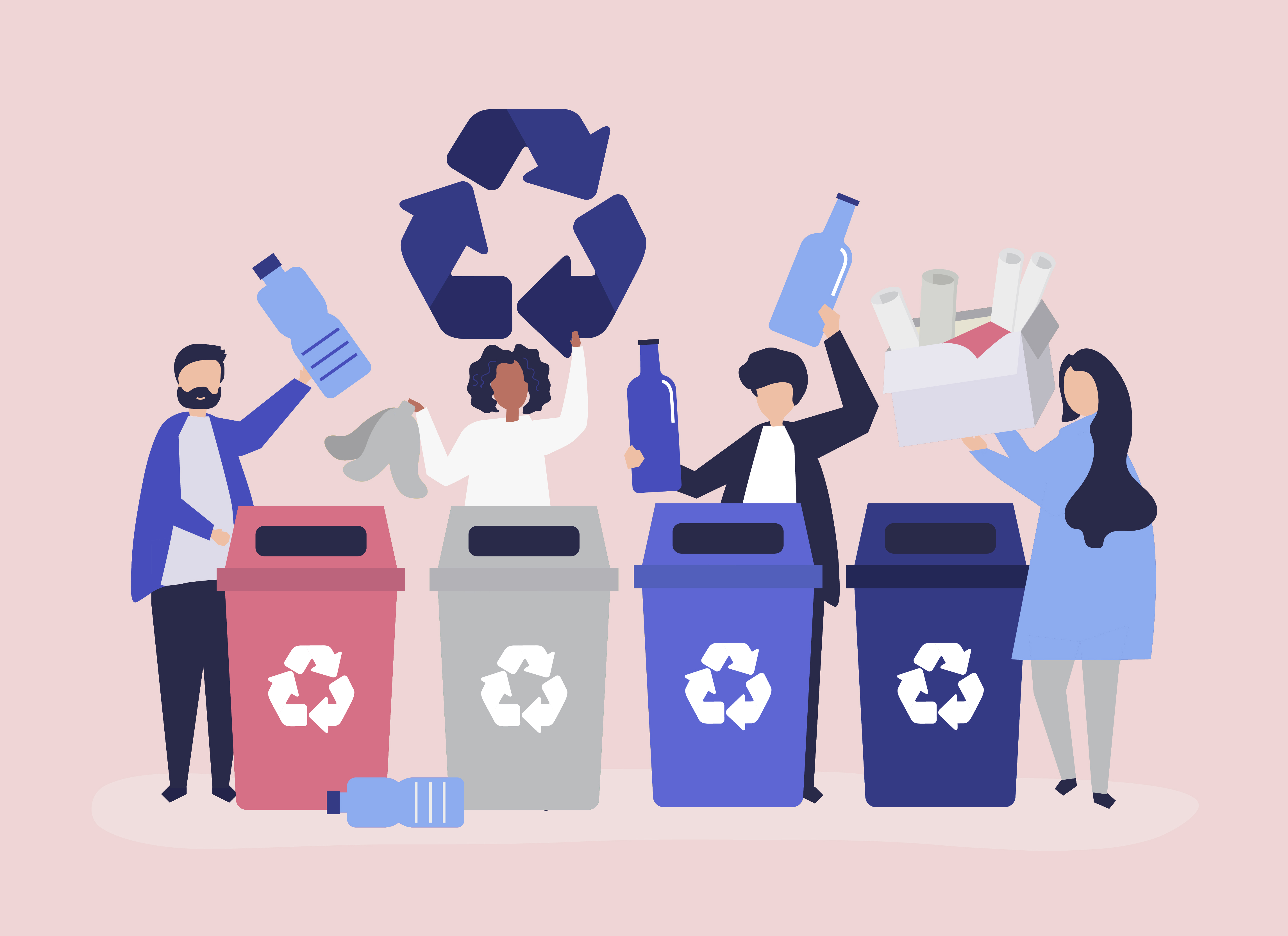 People Sorting Garbage For Recycling Download Free