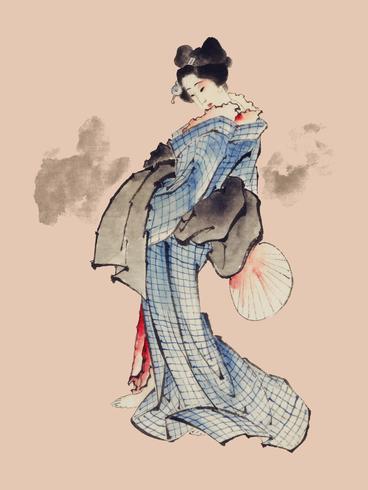 Ilustração tradicional do estilo de Ukyio-e do japonês de uma mulher japonesa no quimono por Katsushika Hokusai (1760-1849). Original da Biblioteca do Congresso. Digitalmente aprimorada pelo rawpixel.