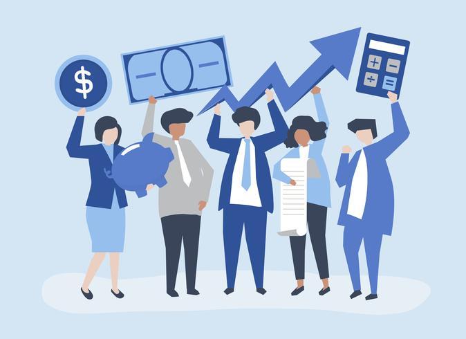 Pessoas negócio, segurando, financeiro, crescimento, conceito, ilustração