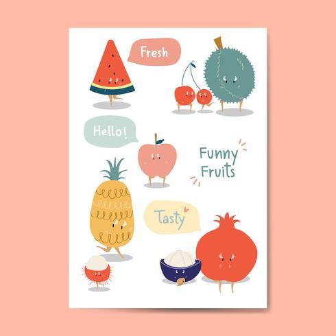 Grappige fruit cartoon stickers vector set