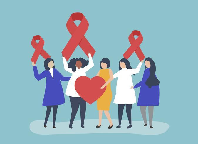 Personas que sostienen cintas rosadas en apoyo de la concientización sobre el VIH / SIDA