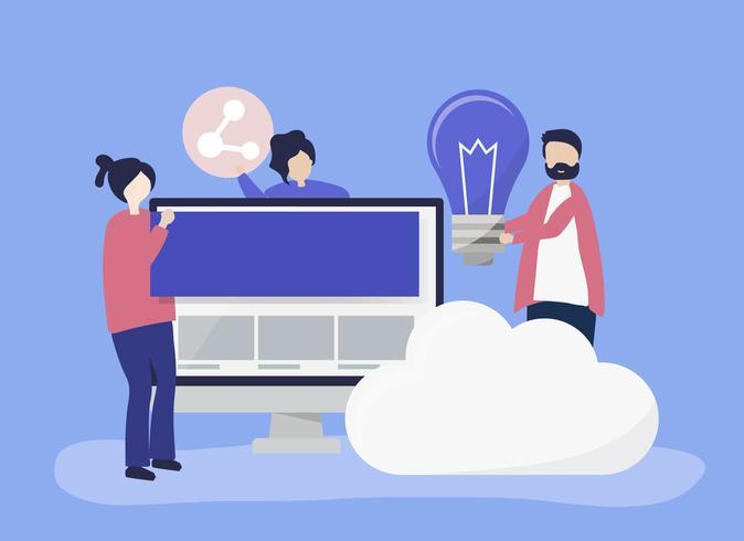Karaktär illustration av personer med teknik ikoner