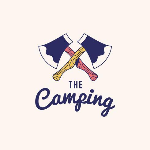 Vintage el vector de diseño de texto logo camping