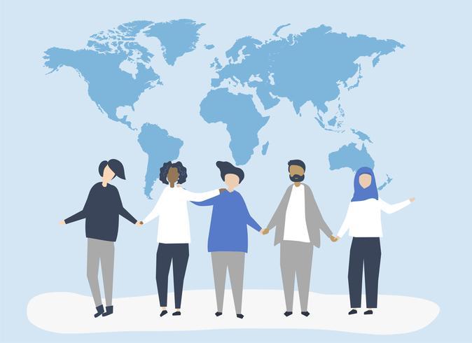 Ilustración de personaje de personas con una ilustración de mapa mundial