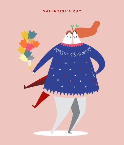 Happy heterosexual Valentine's day concept illustration