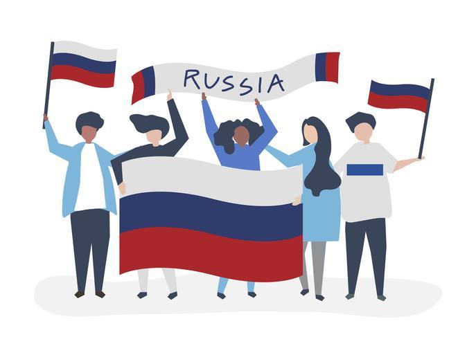 Personas con banderas nacionales rusas