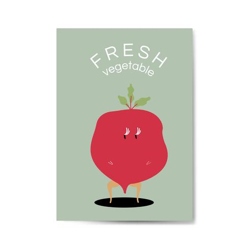 Fresh red radish cartoon character vector