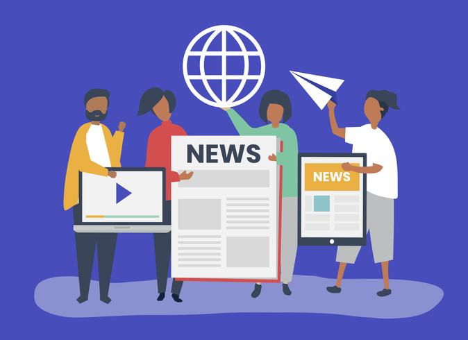 Pessoas mostrando diferentes tipos de maneiras de acessar notícias
