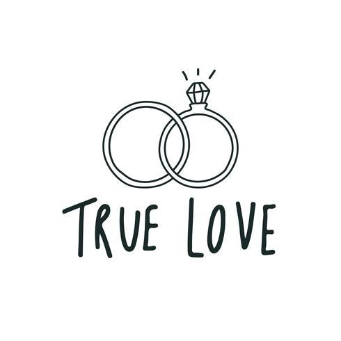 Sann kärlek typografi med vigselringar vektor