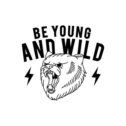 Unga och vild sloganvektor