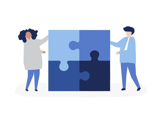 Caractère d'un couple résolvant illustration de pièces de puzzle