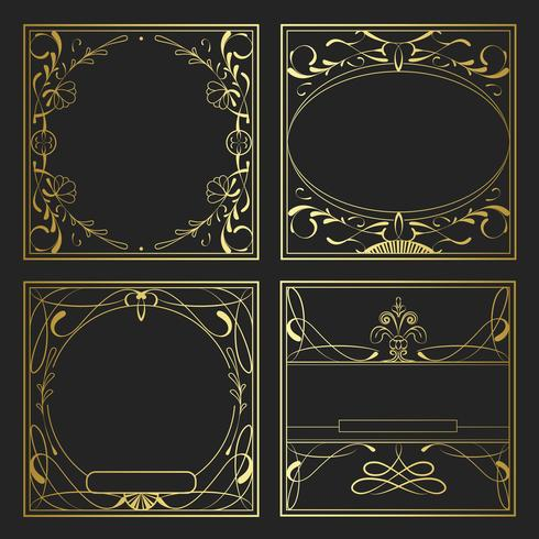 Sats med vintage gyllene art nouveau element vektor