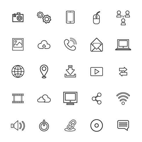 Illustration of technology icons set