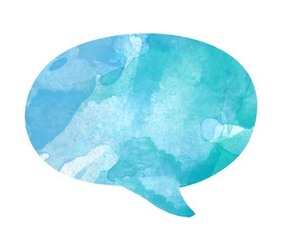 Vecteur de bulle discours aquarelle en bleu