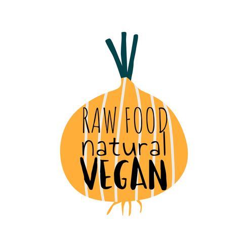 Vegano naturale dell'alimento crudo su un vettore della cipolla