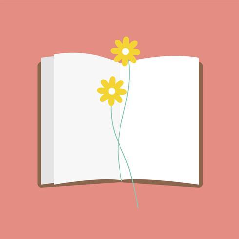 Abbildung eines offenen Notizblockes mit Blume