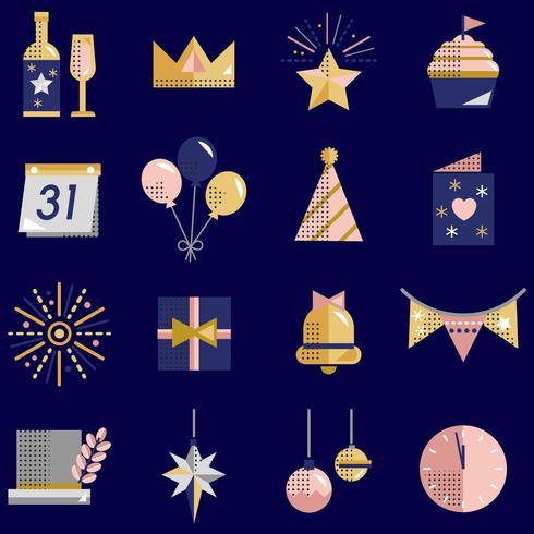 Nieuwe jaarpictogrammen geplaatst vector