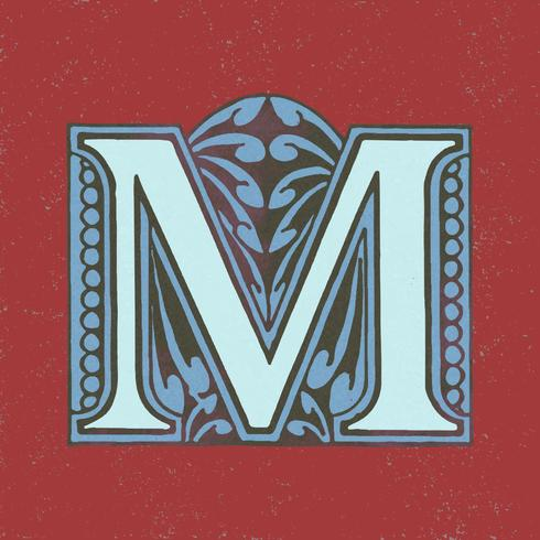 Stile di tipografia vintage lettera maiuscola M