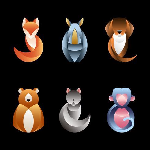 Sats av geometriska djur design vektorer