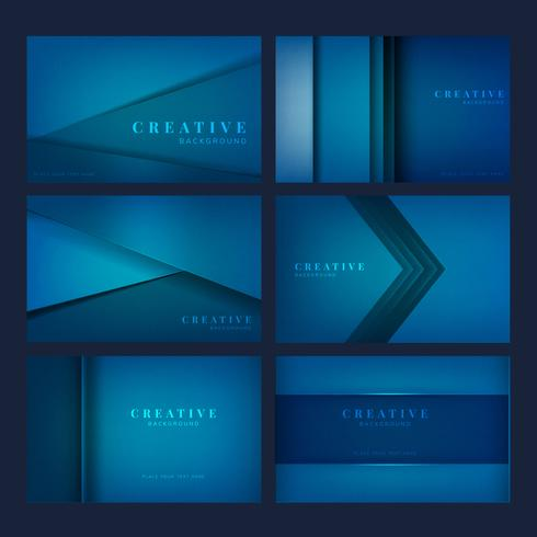 Set of creative background designs in deep blue