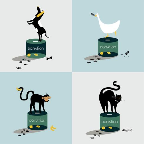 Collage av djur som står på en donationslåda