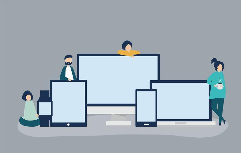 Personnages avec écrans numériques