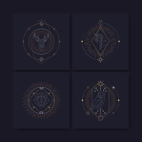 Geometric astrological symbols tarot card - Download Free