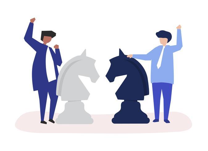 Personajes de dos empresarios jugando ajedrez ilustración.