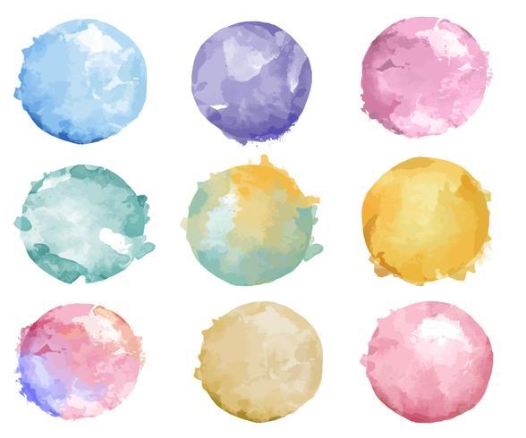 Set di vettore colorato distintivo dell'acquerello