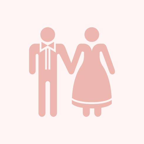 Sposa e sposo che si tengono per mano illustrazione grafica