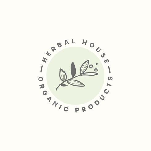 Vector de diseño de logotipo de casa de hierbas