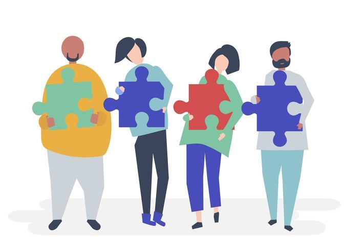 Menschen aus verschiedenen Hintergründen tragen Puzzleteile