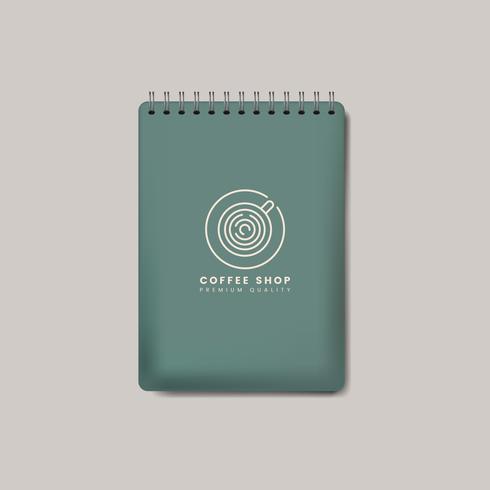 Spiral grön anteckningsbok mockup isolerad vektor