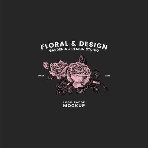 Trädgårdsarbete och blommig logo design vektor