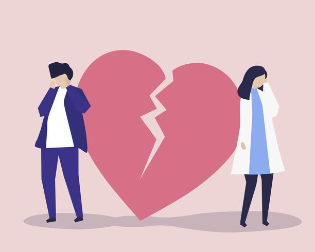 Ilustración de personaje de pareja con un icono de desamor